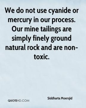 Siddharta Moersjid  - We do not use cyanide or mercury in our process. Our mine tailings are simply finely ground natural rock and are non-toxic.