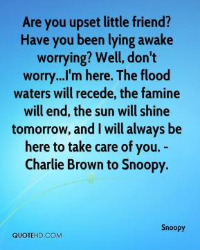 Snoopy  - Are you upset little friend? Have you been lying awake worrying? Well, don't worry...I'm here. The flood waters will recede, the famine will end, the sun will shine tomorrow, and I will always be here to take care of you. -Charlie Brown to Snoopy.