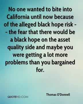 Thomas O'Donnell  - No one wanted to bite into California until now because of the alleged black hope risk -- the fear that there would be a black hope on the asset quality side and maybe you were getting a lot more problems than you bargained for.