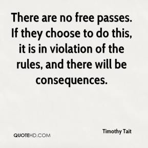 Timothy Tait  - There are no free passes. If they choose to do this, it is in violation of the rules, and there will be consequences.