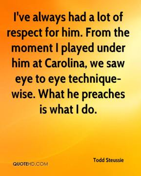 I've always had a lot of respect for him. From the moment I played under him at Carolina, we saw eye to eye technique-wise. What he preaches is what I do.