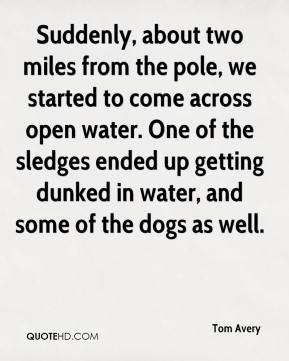 Tom Avery  - Suddenly, about two miles from the pole, we started to come across open water. One of the sledges ended up getting dunked in water, and some of the dogs as well.