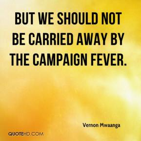 Vernon Mwaanga  - But we should not be carried away by the campaign fever.