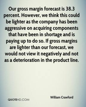 William Crawford  - Our gross margin forecast is 38.3 percent. However, we think this could be lighter as the company has been aggressive on acquiring components that have been in shortage and is paying up to do so. If gross margins are lighter than our forecast, we would not view it negatively and not as a deterioration in the product line.