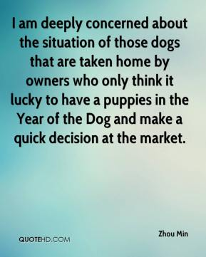 Zhou Min  - I am deeply concerned about the situation of those dogs that are taken home by owners who only think it lucky to have a puppies in the Year of the Dog and make a quick decision at the market.