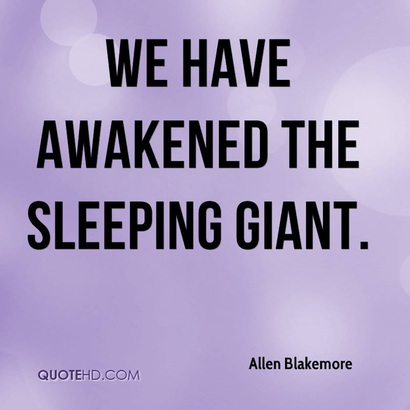 We have awakened the sleeping giant.