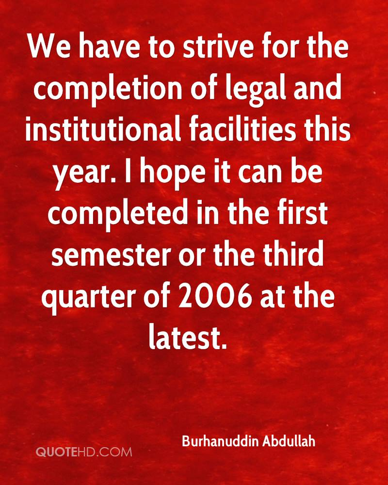 We have to strive for the completion of legal and institutional facilities this year. I hope it can be completed in the first semester or the third quarter of 2006 at the latest.