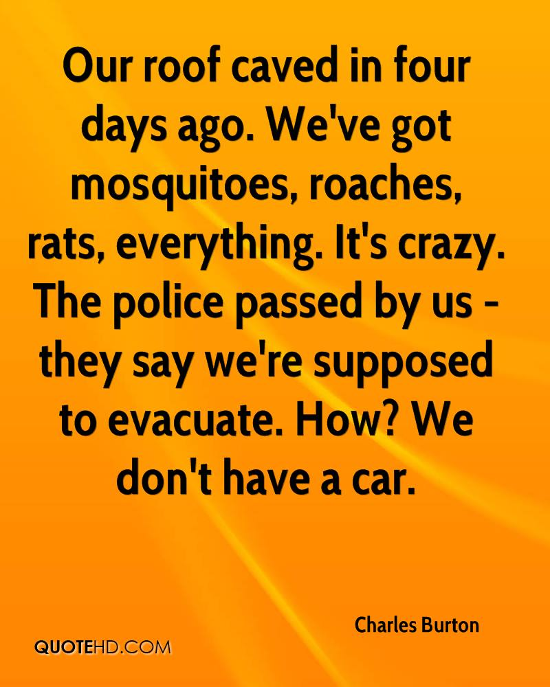 Our roof caved in four days ago. We've got mosquitoes, roaches, rats, everything. It's crazy. The police passed by us - they say we're supposed to evacuate. How? We don't have a car.