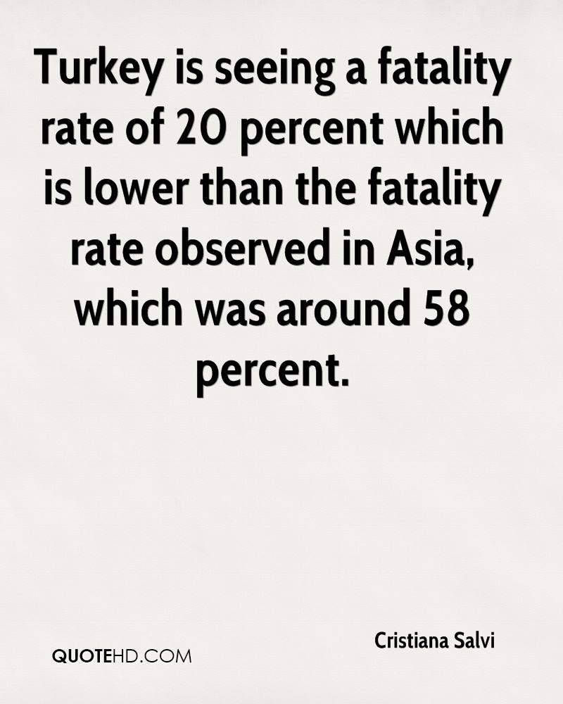 Turkey is seeing a fatality rate of 20 percent which is lower than the fatality rate observed in Asia, which was around 58 percent.