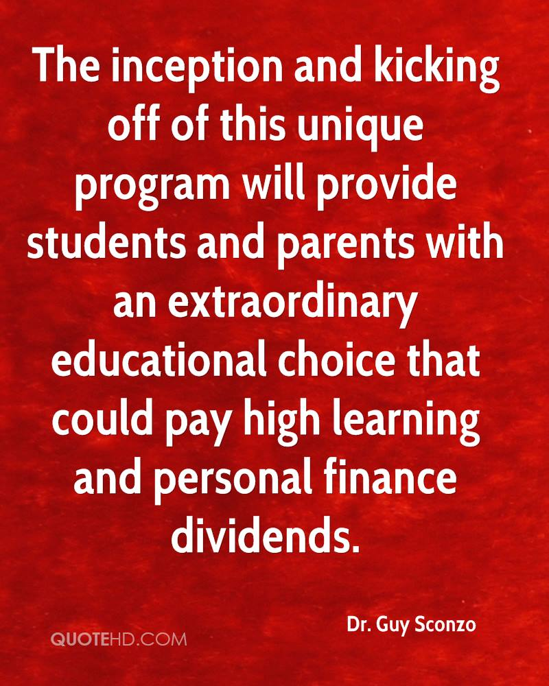The inception and kicking off of this unique program will provide students and parents with an extraordinary educational choice that could pay high learning and personal finance dividends.