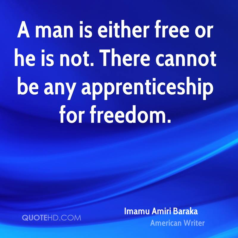 A man is either free or he is not. There cannot be any apprenticeship for freedom.