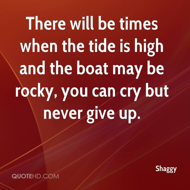 There will be times when the tide is high and the boat may be rocky, you can cry but never give up.