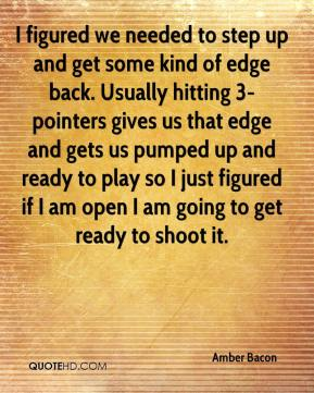 I figured we needed to step up and get some kind of edge back. Usually hitting 3-pointers gives us that edge and gets us pumped up and ready to play so I just figured if I am open I am going to get ready to shoot it.