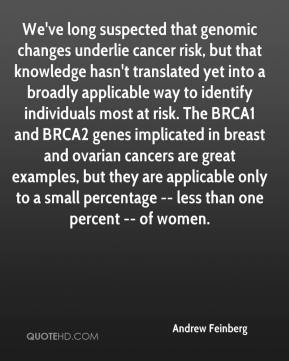 Andrew Feinberg - We've long suspected that genomic changes underlie cancer risk, but that knowledge hasn't translated yet into a broadly applicable way to identify individuals most at risk. The BRCA1 and BRCA2 genes implicated in breast and ovarian cancers are great examples, but they are applicable only to a small percentage -- less than one percent -- of women.