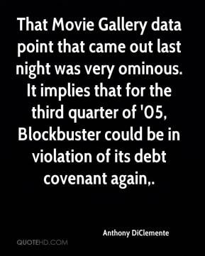 Anthony DiClemente - That Movie Gallery data point that came out last night was very ominous. It implies that for the third quarter of '05, Blockbuster could be in violation of its debt covenant again.