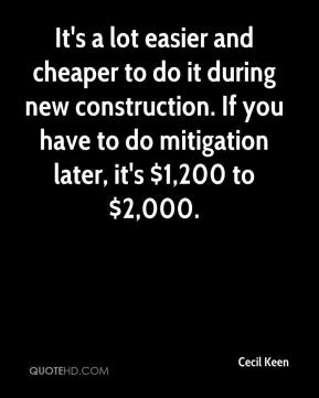 Cecil Keen - It's a lot easier and cheaper to do it during new construction. If you have to do mitigation later, it's $1,200 to $2,000.