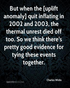 Charles Wicks - But when the [uplift anomaly] quit inflating in 2002 and 2003, the thermal unrest died off too. So we think there's pretty good evidence for tying these events together.