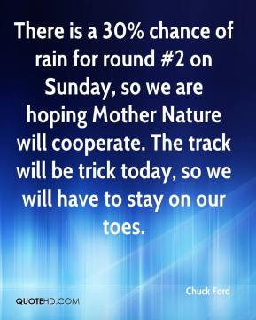 Chuck Ford - There is a 30% chance of rain for round #2 on Sunday, so we are hoping Mother Nature will cooperate. The track will be trick today, so we will have to stay on our toes.