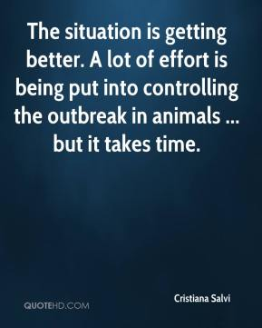 The situation is getting better. A lot of effort is being put into controlling the outbreak in animals ... but it takes time.