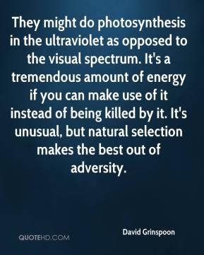 David Grinspoon - They might do photosynthesis in the ultraviolet as opposed to the visual spectrum. It's a tremendous amount of energy if you can make use of it instead of being killed by it. It's unusual, but natural selection makes the best out of adversity.