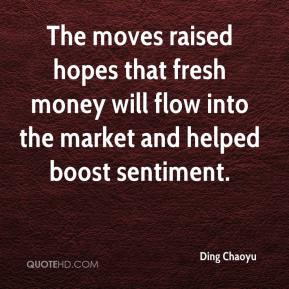 Ding Chaoyu - The moves raised hopes that fresh money will flow into the market and helped boost sentiment.