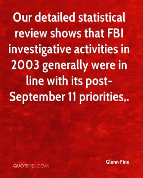 Glenn Fine - Our detailed statistical review shows that FBI investigative activities in 2003 generally were in line with its post-September 11 priorities.