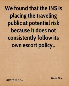 We found that the INS is placing the traveling public at potential risk because it does not consistently follow its own escort policy.