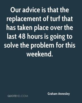 Graham Annesley - Our advice is that the replacement of turf that has taken place over the last 48 hours is going to solve the problem for this weekend.