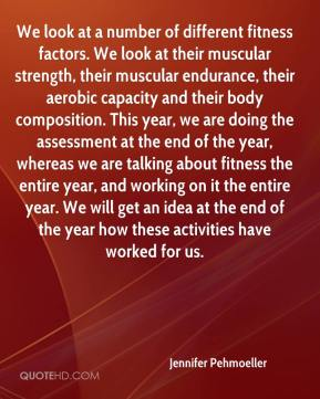 We look at a number of different fitness factors. We look at their muscular strength, their muscular endurance, their aerobic capacity and their body composition. This year, we are doing the assessment at the end of the year, whereas we are talking about fitness the entire year, and working on it the entire year. We will get an idea at the end of the year how these activities have worked for us.