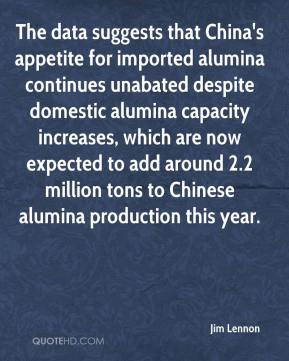 Jim Lennon  - The data suggests that China's appetite for imported alumina continues unabated despite domestic alumina capacity increases, which are now expected to add around 2.2 million tons to Chinese alumina production this year.