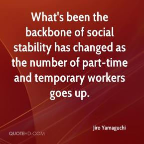 Jiro Yamaguchi  - What's been the backbone of social stability has changed as the number of part-time and temporary workers goes up.