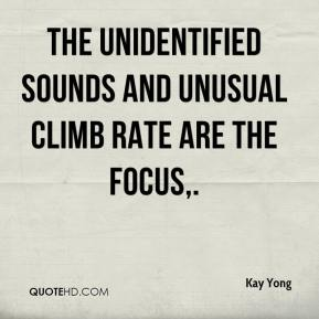 Kay Yong  - The unidentified sounds and unusual climb rate are the focus.