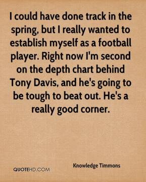 Knowledge Timmons  - I could have done track in the spring, but I really wanted to establish myself as a football player. Right now I'm second on the depth chart behind Tony Davis, and he's going to be tough to beat out. He's a really good corner.
