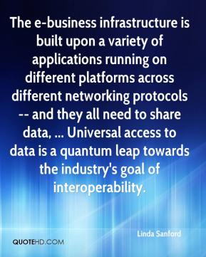 Linda Sanford  - The e-business infrastructure is built upon a variety of applications running on different platforms across different networking protocols -- and they all need to share data, ... Universal access to data is a quantum leap towards the industry's goal of interoperability.
