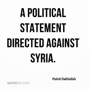 a political statement directed against Syria.
