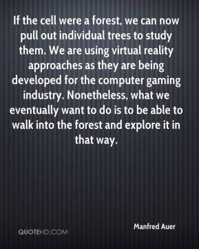 Manfred Auer  - If the cell were a forest, we can now pull out individual trees to study them. We are using virtual reality approaches as they are being developed for the computer gaming industry. Nonetheless, what we eventually want to do is to be able to walk into the forest and explore it in that way.