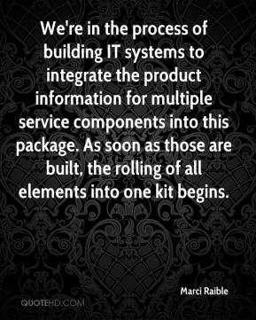 Marci Raible  - We're in the process of building IT systems to integrate the product information for multiple service components into this package. As soon as those are built, the rolling of all elements into one kit begins.