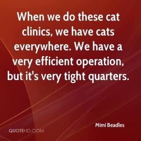 Mimi Beadles  - When we do these cat clinics, we have cats everywhere. We have a very efficient operation, but it's very tight quarters.