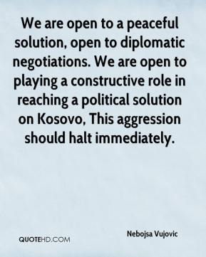 We are open to a peaceful solution, open to diplomatic negotiations. We are open to playing a constructive role in reaching a political solution on Kosovo, This aggression should halt immediately.