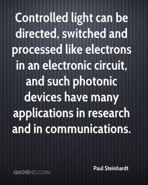 Controlled light can be directed, switched and processed like electrons in an electronic circuit, and such photonic devices have many applications in research and in communications.