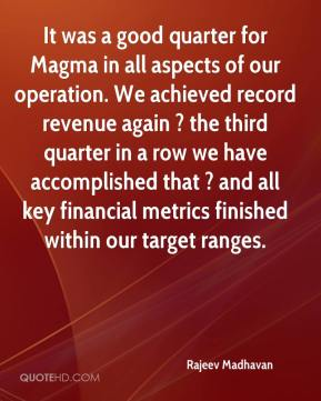Rajeev Madhavan  - It was a good quarter for Magma in all aspects of our operation. We achieved record revenue again ? the third quarter in a row we have accomplished that ? and all key financial metrics finished within our target ranges.