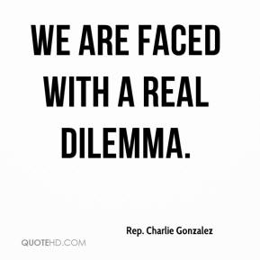 Rep. Charlie Gonzalez  - We are faced with a real dilemma.