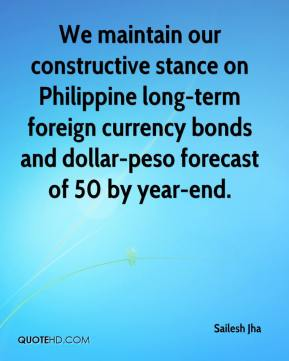 Sailesh Jha  - We maintain our constructive stance on Philippine long-term foreign currency bonds and dollar-peso forecast of 50 by year-end.
