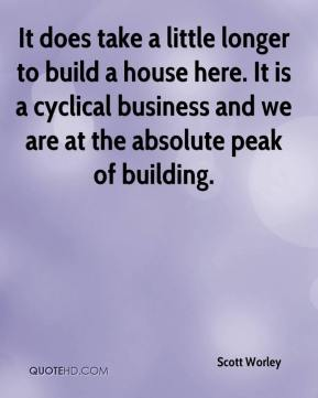 Scott Worley  - It does take a little longer to build a house here. It is a cyclical business and we are at the absolute peak of building.