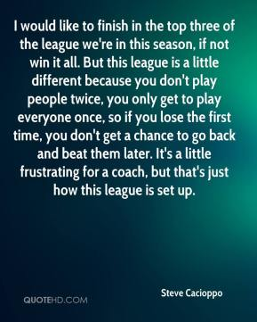 I would like to finish in the top three of the league we're in this season, if not win it all. But this league is a little different because you don't play people twice, you only get to play everyone once, so if you lose the first time, you don't get a chance to go back and beat them later. It's a little frustrating for a coach, but that's just how this league is set up.