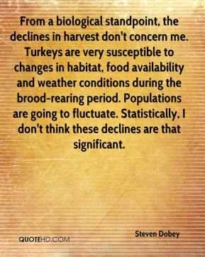 Steven Dobey  - From a biological standpoint, the declines in harvest don't concern me. Turkeys are very susceptible to changes in habitat, food availability and weather conditions during the brood-rearing period. Populations are going to fluctuate. Statistically, I don't think these declines are that significant.
