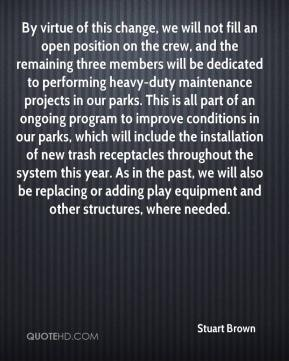 By virtue of this change, we will not fill an open position on the crew, and the remaining three members will be dedicated to performing heavy-duty maintenance projects in our parks. This is all part of an ongoing program to improve conditions in our parks, which will include the installation of new trash receptacles throughout the system this year. As in the past, we will also be replacing or adding play equipment and other structures, where needed.