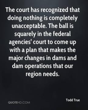 Todd True  - The court has recognized that doing nothing is completely unacceptable. The ball is squarely in the federal agencies' court to come up with a plan that makes the major changes in dams and dam operations that our region needs.