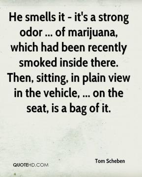 Tom Scheben  - He smells it - it's a strong odor ... of marijuana, which had been recently smoked inside there. Then, sitting, in plain view in the vehicle, ... on the seat, is a bag of it.