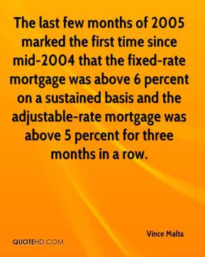 Vince Malta  - The last few months of 2005 marked the first time since mid-2004 that the fixed-rate mortgage was above 6 percent on a sustained basis and the adjustable-rate mortgage was above 5 percent for three months in a row.
